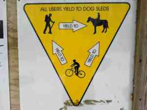 Yield sign showing right of way for hikers, cyclists, etc.