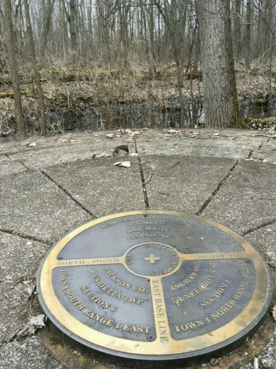 monumental survey marker of Michigan's baseline