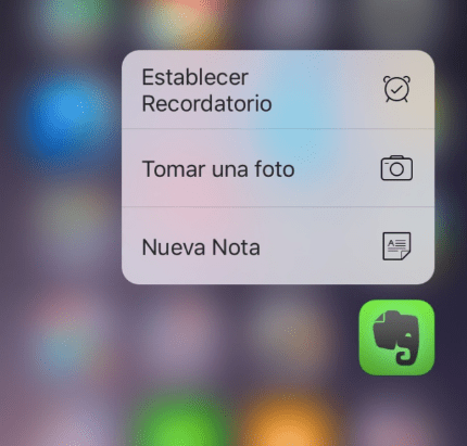 3D Touch - Evernote