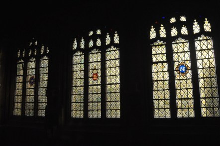 Stained glass winows from a side room in Lincoln Cathedral