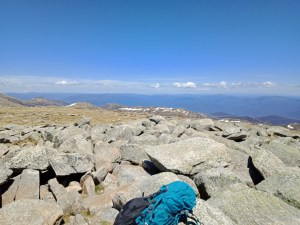 View towards Victorian high country from top of Mount Kosciuszko