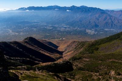 権現岳山頂からの南アルプス