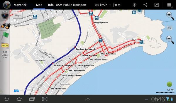 Mapa de transportes Maverick