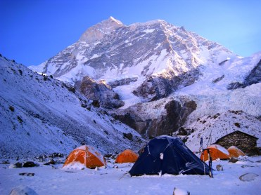 Base del Makalu Nevadas Campamento