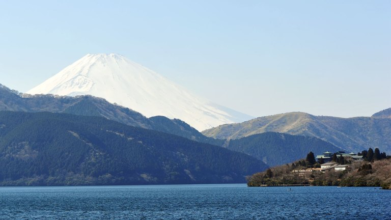 A view of Mt Fuji from Lake Ashii