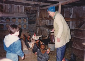 Micah collecting eggs with Alta. Not exactly remodeling but a cute picture to put in this album.