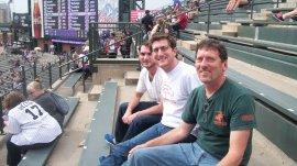 Micah, Eli and Steve at Coors Field - last game of the season
