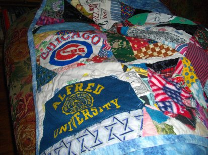 A Cubs worn out sweatshirt recycled into a quilt