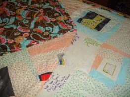 This quilt makes me smile with so many memories.