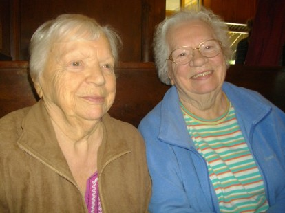 My mother, Lucie and her sister Ursula at the Texas Hot in Wellsville, NY.
