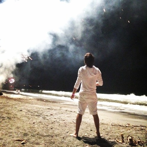 Micah ringing in 2015 on the beach in Samara, Costa Rica. Hannah took the picture