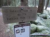 Start of the Paradise Park trail. Six and a half miles and 3000 ft. elevation gain to Paradise. Notice the required bullet holes in the sign. The forest service is working to change this area back to just a trail head and ending the camping.
