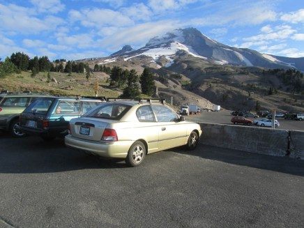 I got the car parked in the overnight area at Timberline Lodge and ready to begin walking.