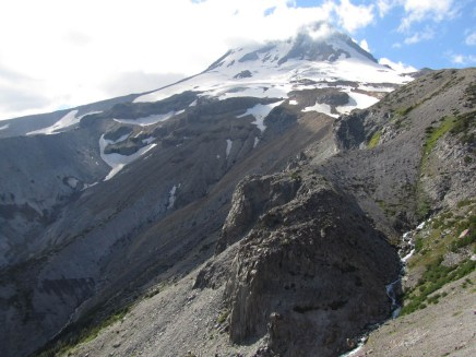 From Gnarl Ridge a view of Mt. Hood and the Newton Clark Glacier
