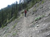 Lori crossing the section that felt a little exposed. She kept her head down walked carefully.