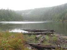 Warren Lake with lots of rain drops on it.