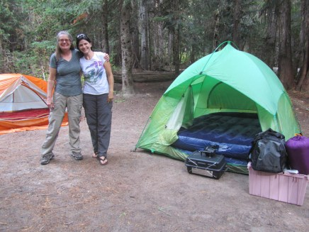 Lori and Dinah working on Setting up camp.