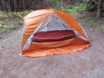 Lori's new tent and sleeping bag.