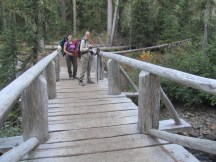 Lori and Dinah at the bridge of Goat Creek.