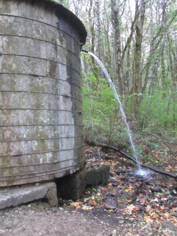 The old water tank at the trail head.