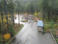 The parking lot viewed from the top of the fire lookout tower.