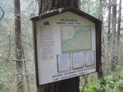 Sign at wilderness boundary.