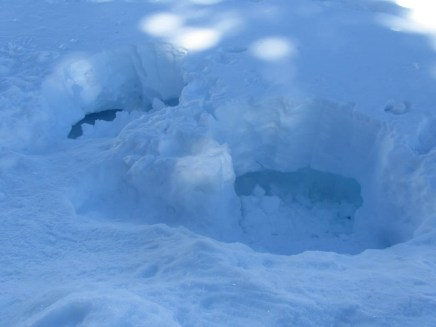 Collapsed snow caves.