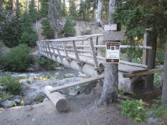 The wilderness sign in is at the bridge over Clark Creek.