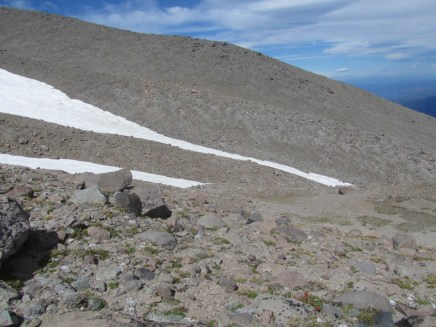 Looking over to the ridge by the snow field I came up. The higher ridge of the side of the pyramid on Cooper Spur.