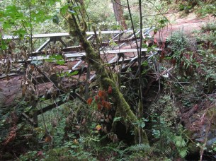 This bridge got hammered last year and now you have to climb down the do a creek crossing.