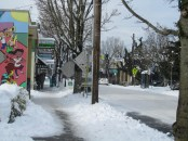 The merchants were getting their sidewalks cleared and were open for business.