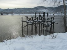 The remains of an old pier on the Willamette.