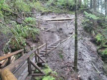 A few weeks ago a slide took out this part of the trail. WTA has rebuilt it.