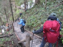 The rebuilt section of the trail by Rodney Falls is slippery.