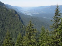 It was clear enough to see the dam, bridge of the Gods, and Beacon Rock.