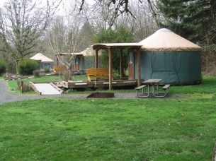 The parked offer yurts, cabins, and camp sites to stay in.