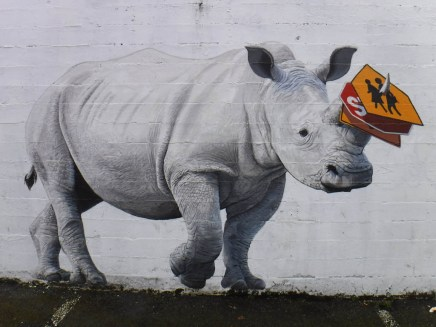 The Collector rhinoceros mural by Josh Keyes - SE 13th & Morrison (behind Zell's).