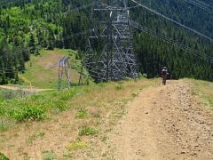 One unpleasant part of the hike is passing under power lines.
