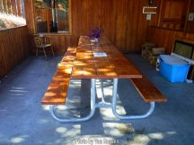 Table will hold your whole rafting group.