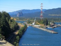 Beacon Rock and Bonneville Dam locks from Tooth Rock