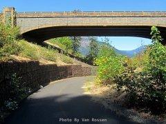 Trail under I5 bridge with nice rock work