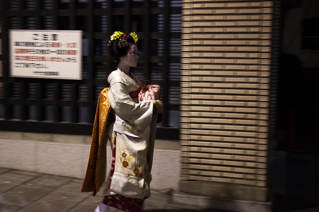We spot an apprentice Geisha (Maiko) hurrying away at the end of our tour