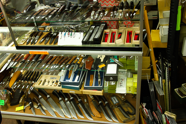 Knives on display and sale at the store