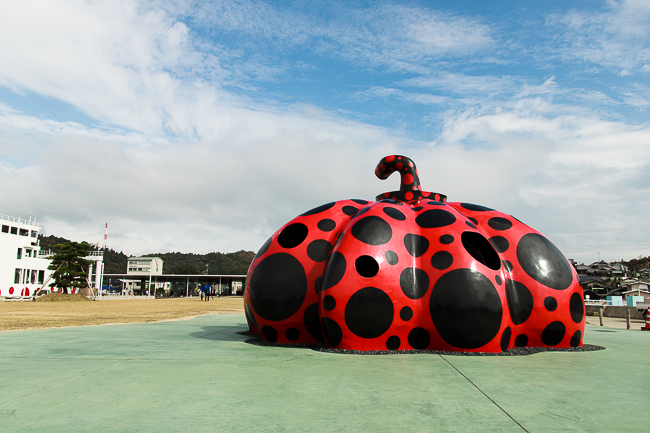 One of the Pumpkin installations by renowned Japanese pop artist, Yayoi Kusama.