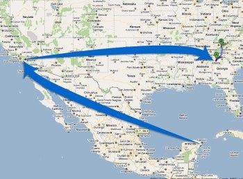 Mexico to California to Atlanta