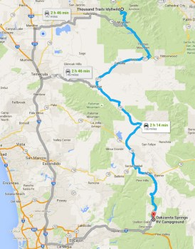 Descanso, CA to Idyllwild, CA