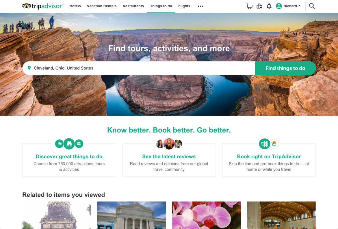 TripAdvisor Attraction Page