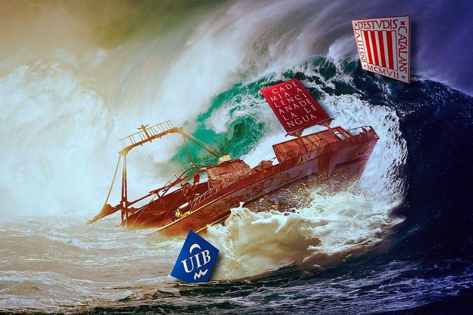 El barco AVL naufragant baix l'ona IEC