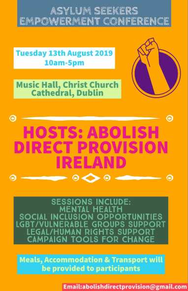 Asylum Seekers Empowerment Conference poster by Abolish Direct Provision