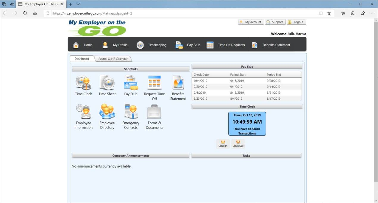 employee self-service (ESS) portal